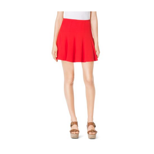MICHAEL MICHAEL KORS Flared Crumpled-Crepe Skirt GRENADINE