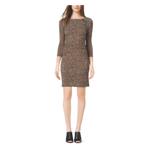 MICHAEL MICHAEL KORS Shirred Animal-Print Dress DARK CAMEL