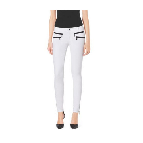 MICHAEL MICHAEL KORS Stretch-Cotton Skinny Jeans WHITE