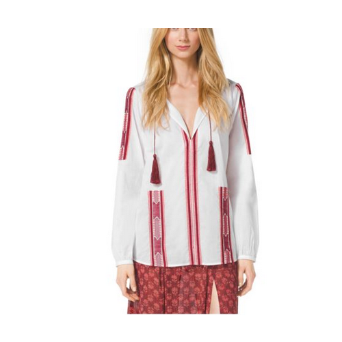 MICHAEL MICHAEL KORS Embroidered Voile Shirt, Petite WHT/CINNABAR