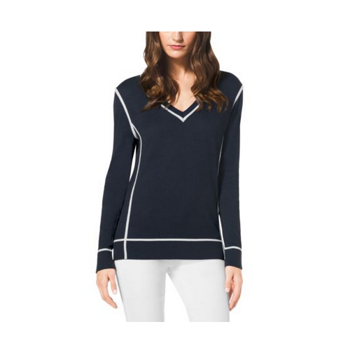 MICHAEL MICHAEL KORS V-Neck Cotton Sweater, Plus Size NAVY