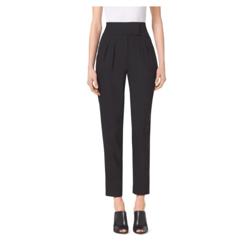 MICHAEL MICHAEL KORS Pleated High-Waist Stretch Trousers BLACK