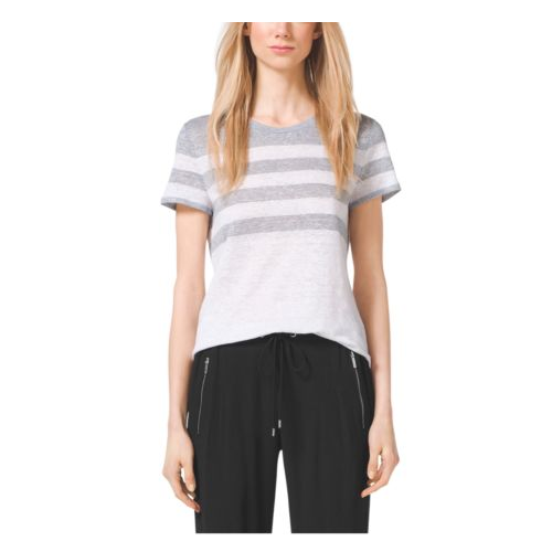 MICHAEL MICHAEL KORS Striped Cotton Top PEARL GREY