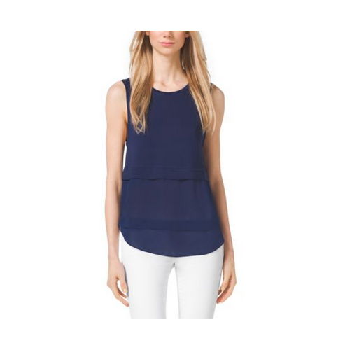 MICHAEL MICHAEL KORS Paneled Jersey Top PRUSSIAN BLUE