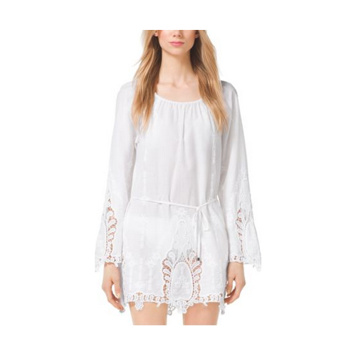 MICHAEL MICHAEL KORS Embroidered Cotton-Voilé Tunic WHITE