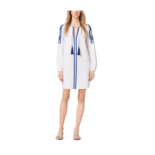 MICHAEL MICHAEL KORS Tasseled Embroidered Linen Tunic WHITE/ROYAL