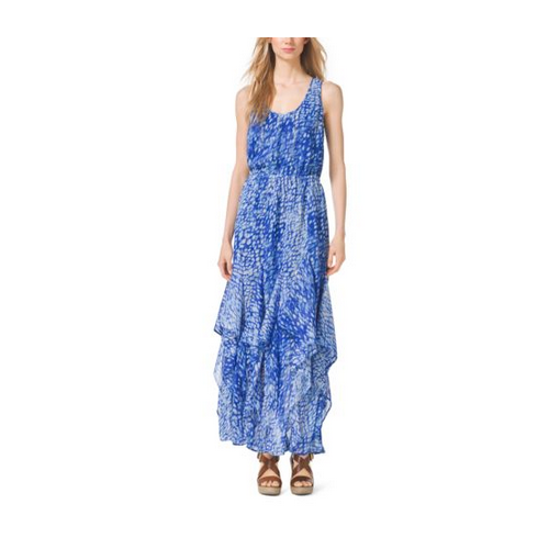 MICHAEL MICHAEL KORS Tie-Dye Ruffled Tank Dress ROYAL