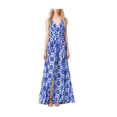 MICHAEL MICHAEL KORS Tile-Print Crepe Maxi Dress ROYAL